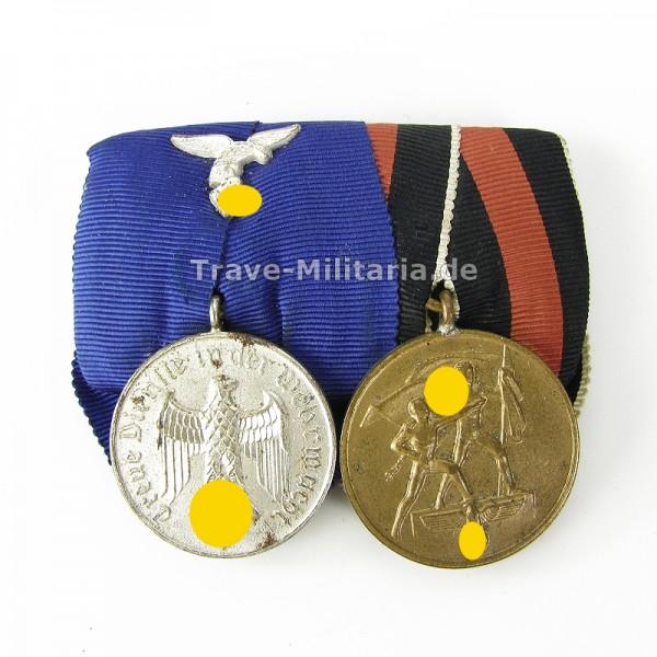 2er Ordenspange Dienstauszeichnung Luftwaffe und Sudetenmedaille
