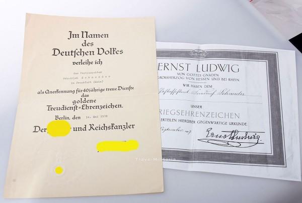 Urkunde Treudienst-Ehrenzeichen für 40 Jahre F. Schneider