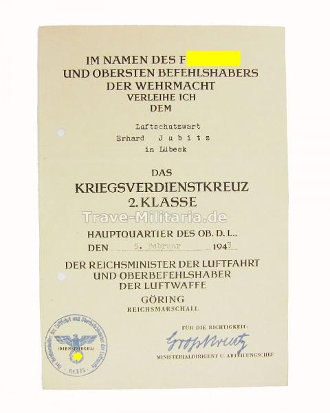 Einzelurkunde Kriegsverdienstkreuz 2. Klasse an Luftschutzwart