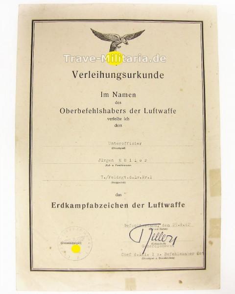 Urkunde für das Erdkampfabzeichen der LW Feldrgt.d.Lw.Nr.1