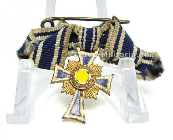 Miniatur Ehrenkreuz der Deutschen Mutter in Gold an Damenschleife