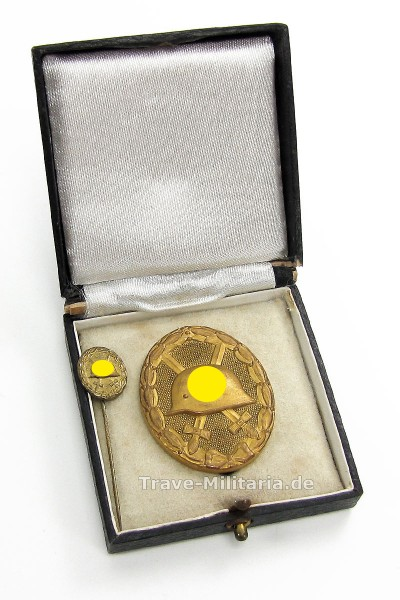 Verwundetenabzeichen in Gold mit Miniatur im Etui