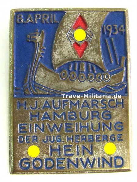 Abzeichen HJ Aufmarsch Hamburg Einweihung Jugendherberge Hein Godenwind