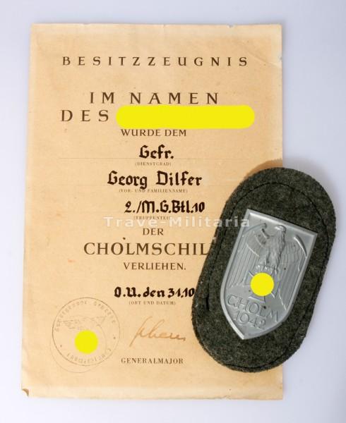 Cholmschild mit Urkunde Dilfer M.G.Btl.10
