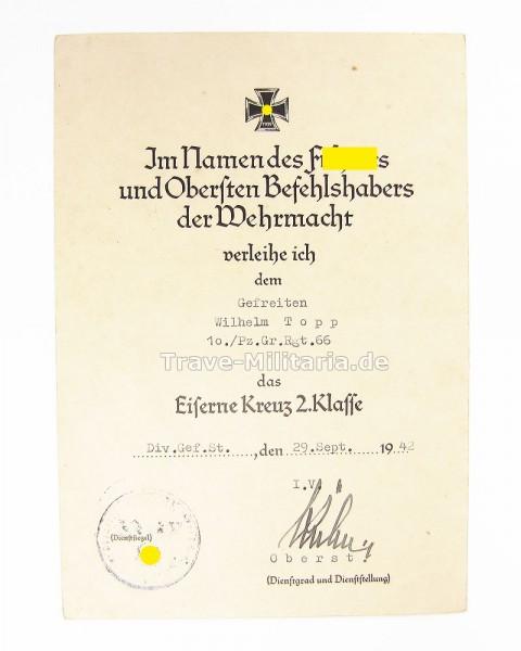 Urkunde Eisernes Kreuz 2. Klasse Panzergrenadier-Regt. 66