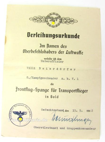 seltene Urkunde zur Frontflug Spange für Transportflieger in Gold