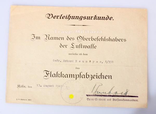 Urkunde Flakkampfabzeichen der Luftwaffe 1/331