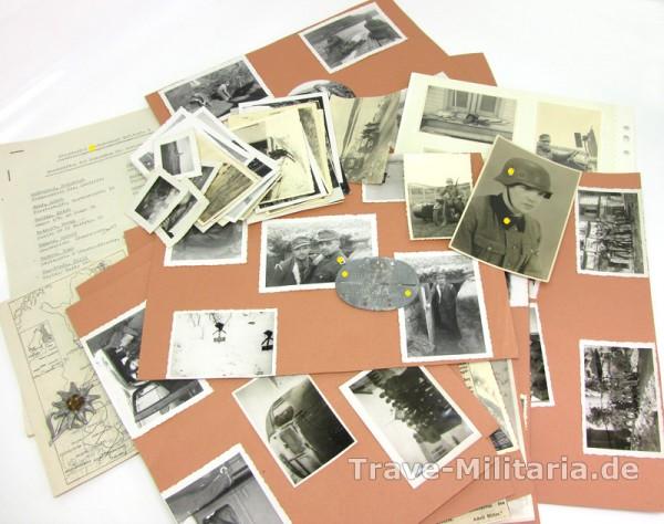 Erkennungsmarke und Fotonachlass SS-Totenkopfstandarte Kirkenes