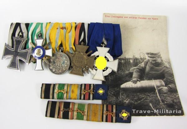 Sachsen 5er Ordenspange mit Albrechtsorden Ritterkreuz 2. Klasse