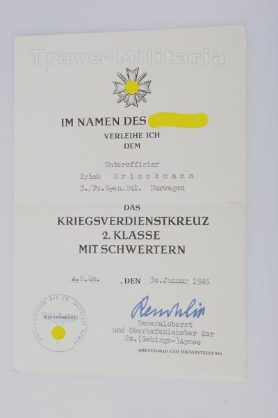 Seltene Urkunde Pz. Norwegen zum KVK 2. Klasse
