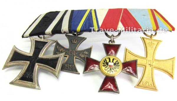 Ordenspange mit Eisernen Kreuz, Lübecker Hanseatenkreuz, Braunschweig, Mecklenburg