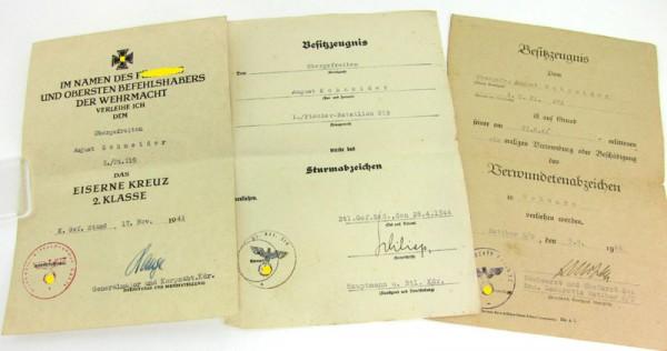 Urkundengruppe eines Pioniers Pi. Btl 219