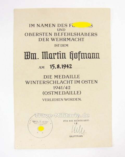 Urkunde Medaille Winterschlacht im Osten Panzer-Nachrichten Abt. 4