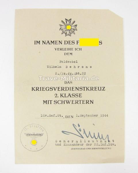 Urkunde Kriegsverdienstkreuz 2. Klasse mit Schwertern Panzerjäger