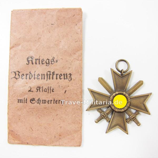Kriegsverdienstkreuz 2. Klasse mit Schwertern in Verleihtüte Hersteller Hauschild