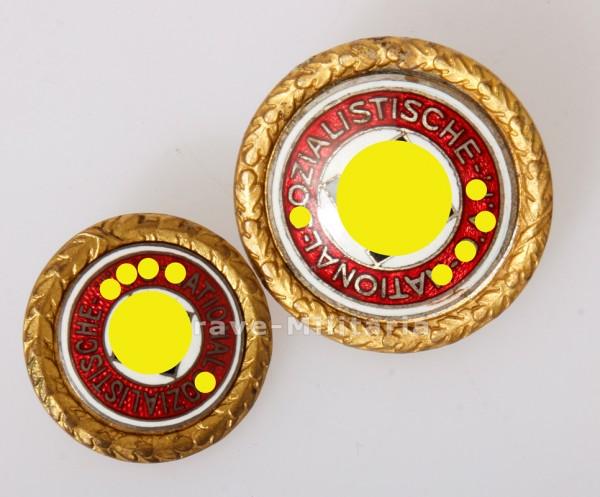 Set NSDAP Parteiabzeichen in Gold, extrem Früh 4 stellig