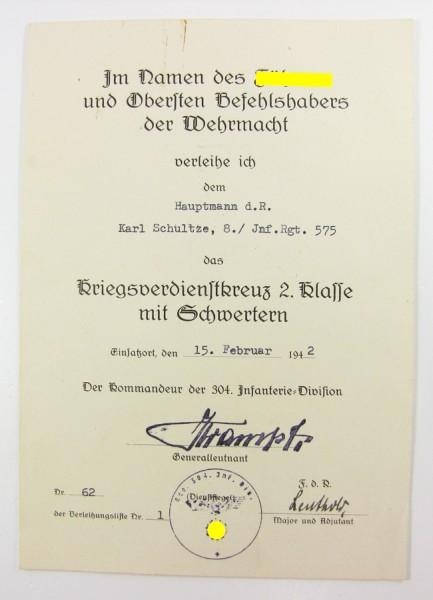 Urkunde Kriegsverdienstkreuz 2. Klasse mit Schwertern Vordruck 304. ID