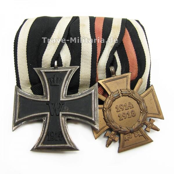 2er Ordenspange Eisernes Kreuz 2. Klasse 1914 und Frontkämpferehrenkreuz
