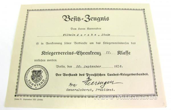 Urkunde Kriegervereins-Ehrenzeichen 2. Klasse