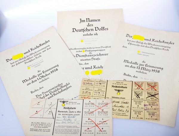 Urkundengruppe der SS an SS-Oberscharführer Speidel SS Dienstauszeichnung