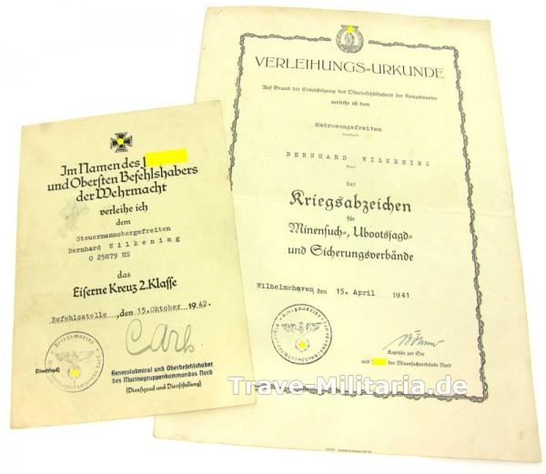 2er Urkundengruppe Minensucher und EK 2