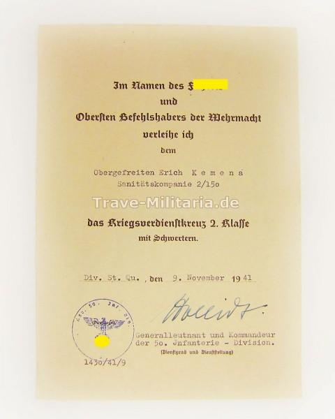 Urkunde zum Kriegsverdienstkreuz 2. Klasse mit Schwertern San.Kp.2/150
