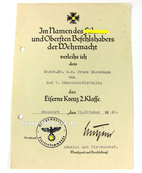 Urkunde Eisernes Kreuz 2. Klasse mit Lütjens Unterschrift