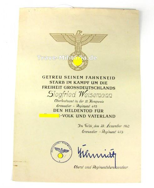 Heldentod-Urkunde für Oberleutnant Grenadier-Regiment 473