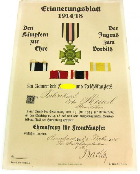 Erinnerungsblatt 1914 / 1918 mit Ordenbändern