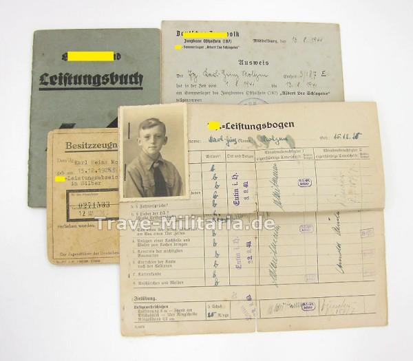 HJ Nachlass Leistungsbuch, Besitzzeugnis HJ-Leistungsabz. DJ-Ausweis und Leistungsbogen