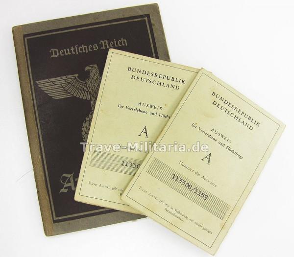 Arbeitsbuch und 2 Vertriebenenausweise