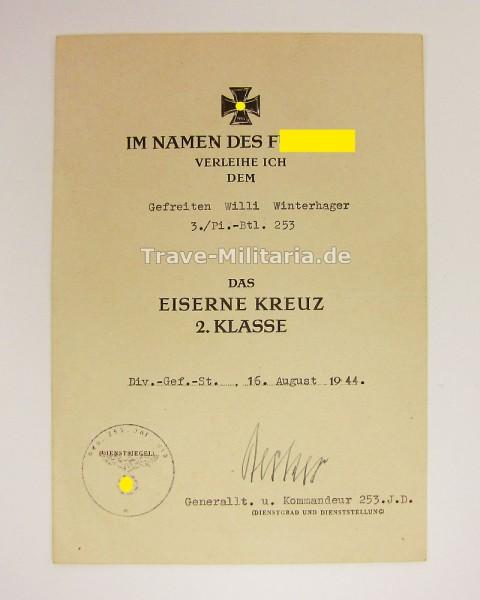 Urkunde Eisernes Kreuz 2. Klasse Pi-Btl. 253