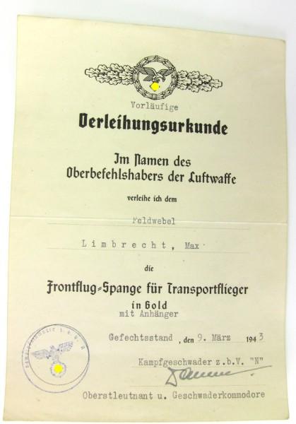 Urkunde zur Frontflug - Spange für Transportflieger in Gold mit Anhänger - DKIG Träger