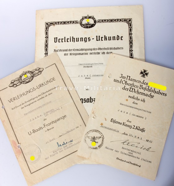 Urkundengruppe Jäke - U-Boot Westfront Italien