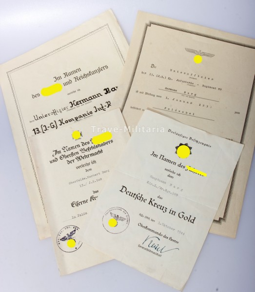 Urkundengruppe Barg Gr. Regt. 509 Deutsches Kreuz in Gold