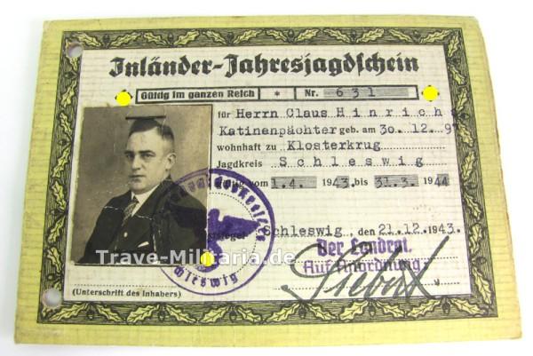 Inländer-Jahresjagdschein von 1943