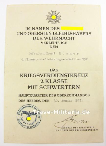 Urkunde Kriegsverdienstkreuz 2. Klasse mit Schwertern Transportwesen