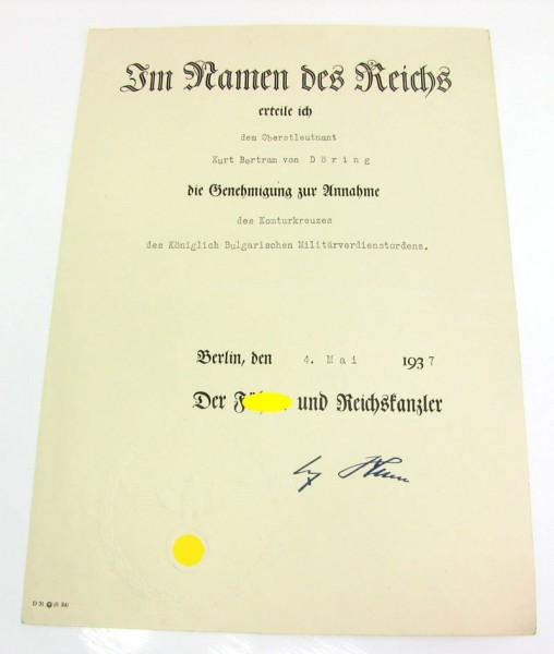 Annahmeurkunde für bulgarischen Orden Oberstleutnant von Döring