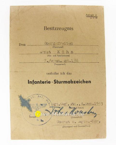 Urkunde Infanterie-Sturmabzeichen G.R. 188