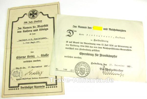 2 Urkunden Eisernes Kreuz 1. Klasse 1914 und Frontkämpferehrenkreuz