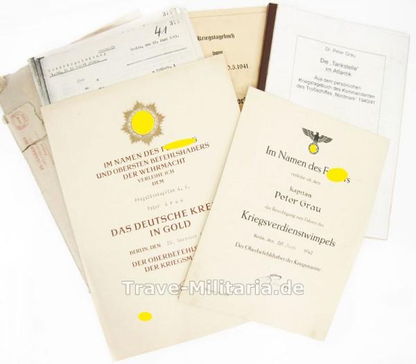 Urkunden Deutsches Kreuz in Gold und Kriegsverdienstwimpel