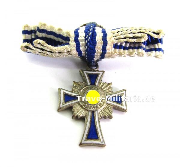 Miniatur Ehrenkreuz der Deutschen Mutter in Silber an Damenschleife