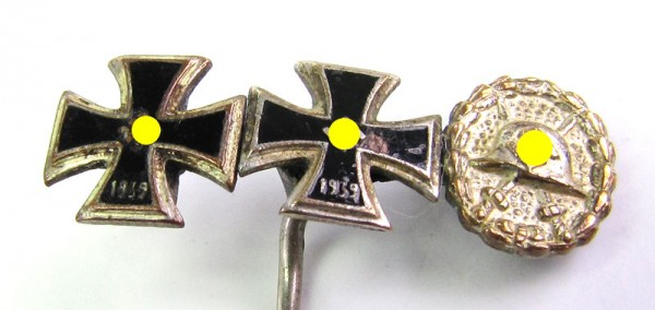 seltene Miniaturennadel EK1, EK2 und Verwundetenabzeichen Legion Condor Silber