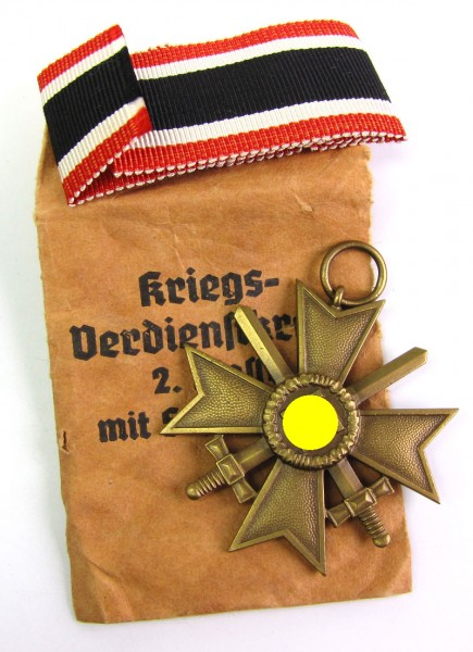 Kriegsverdienstkreuz 2. Klasse mit Schwertern 1939 mit Tüte Roman Palme Gablonz