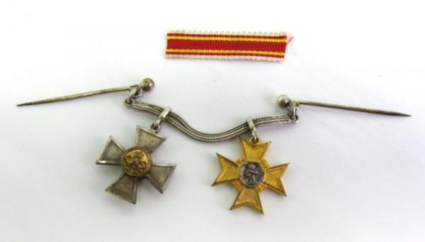 Frackkettchen Baden Kriegsverdienstkreuz 1916 und Preußen Dienstauszeichnung für 20 Jahre
