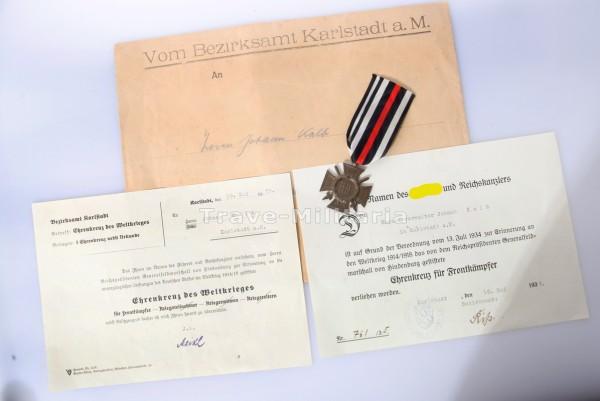Konvolut Ehrenkreuz für Frontkämpfer Karlstadt a.M.
