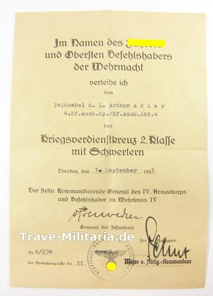Urkunde Kriegsverdienstkreuz 2. Klasse mit Schwertern Wehrkreis IV