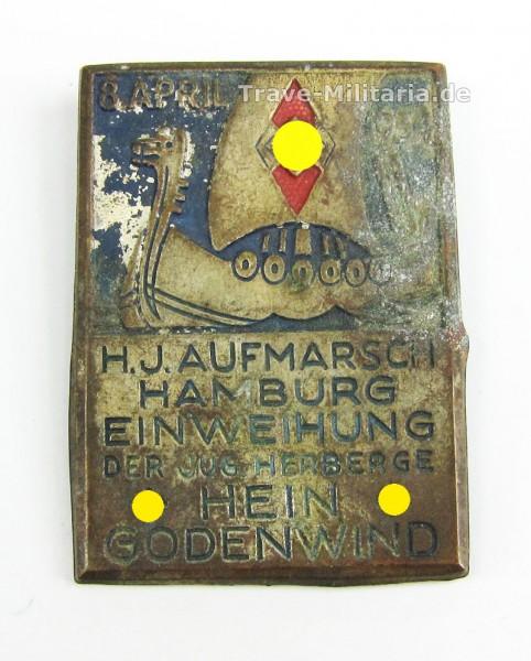 Kleinabzeichen HJ Aufmarsch Hamburg Einweihung der Jugendherberge Hein Godenwind