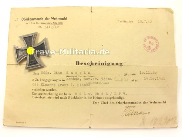 Eisernes Kreuz 1. Klasse Kriegsgefangenenanfertigung mit Bescheinigung des OKW