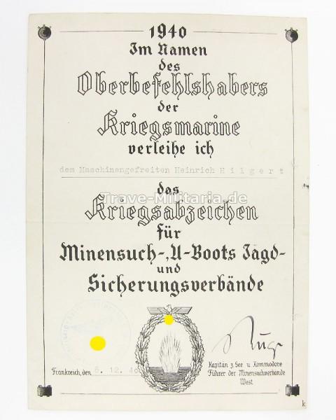 Urkunde zum Minensucherkriegsabzeichen 1940